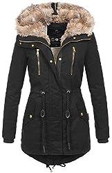 Navahoo warme Damen Winter Jacke lang Teddyfell Winterjacke Parka Mantel B648 (Gr. S/Gr. 36, Schwarz)