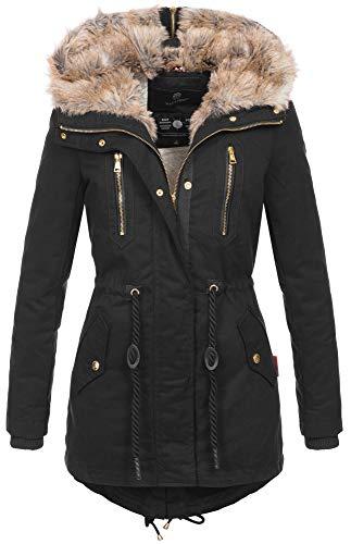 Navahoo warme Damen Winter Jacke lang Teddyfell Winterjacke Parka Mantel B648 [B648-Diamond-Schwarz-Gr.L]