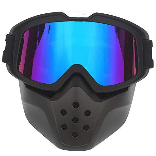 Pkfinrd Motocrossbrille Brille Helm Maske abnehmbare Brille und Mundfilter modulare offene Gesichtsmotorrad Retro Helm Maske@Asiatische Blackbox + Farbfilm