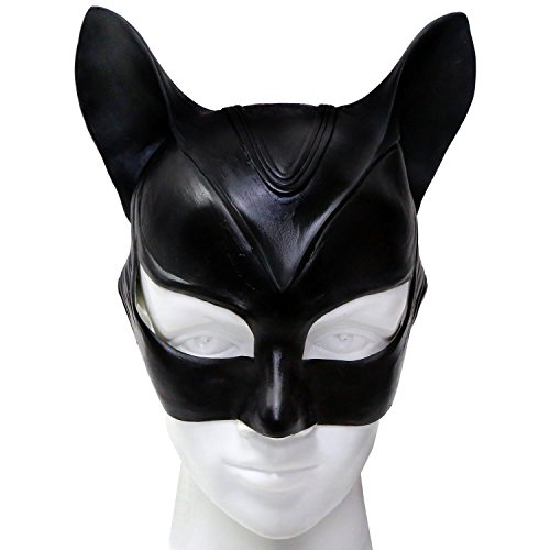ke und Ohren Halloween Cosplay Damen Erwachsene Schwarz Latex Fancy Kopf Masks Party Prop (Leicht Catwoman Kostüm)