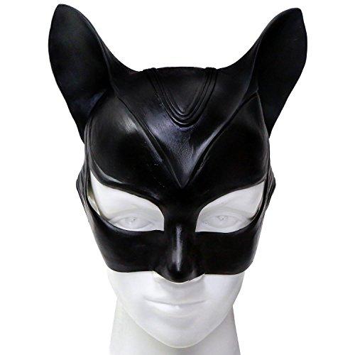 ke und Ohren Halloween Cosplay Damen Erwachsene Schwarz Latex Fancy Kopf Masks Party Prop (Catwoman Halloween Kostüme)
