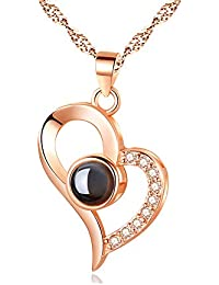 Valentine Gifts for Girlfriend/Wife : YouBella Jewellery 18k Rose Gold Plated I Love You in 100 Languages Heart Necklace Jewellery for Women and Girls