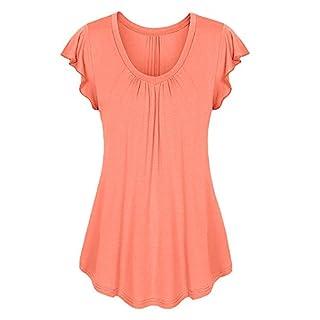 MRULIC Neu Damen Rundhals Geripptes Sleeve Casual Falten Kurzarm T-Shirt mit Stretch Top(B1-Orange,EU-38/CN-S)