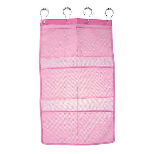 OUNONA Hängende Mesh Dusche Caddy Organizer mit 6 Taschen Duschvorhang Rod Liner Haken Badezimmer Wand Tür Organisation Badezimmer Zubehör mit 4 Ringe (Rosa) (Hängende Dusche Caddies)