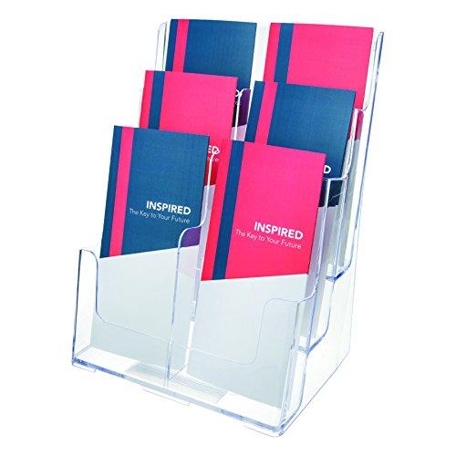 Deflecto Multifach Prospektständer (für Wand oder Schreibtisch, 3 x 1/3 A4-Fächer) transparent