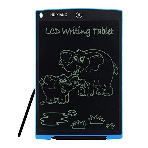 LCD Writing Tablet 12 Zoll HUIXIANG Schreibtafel LCD Elektronischer Notizblock Digital Schreiben Tabletten Grafiktablet Weihnachtsgeschenke für Kinder ab 3/5/6/8/10 Jahre Jungen Mädchen Schule, Blau (Mädchen 10 Spielzeug Ab Für)