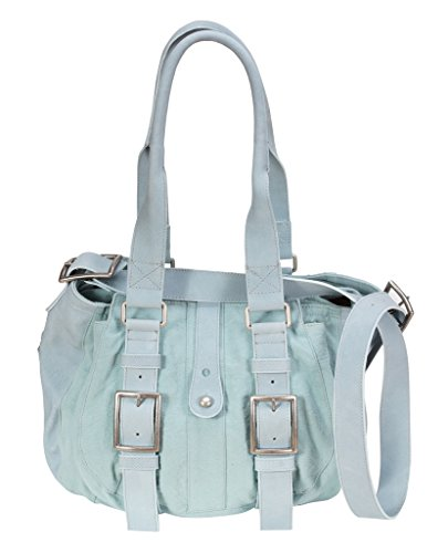 Damen Taschen - Leder Schultertasche 300010 Blau