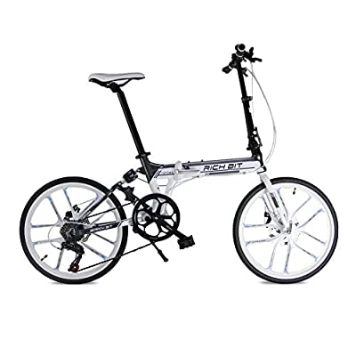 Folding bike MTB free style Road Bike Comfort bike White 20inch 7 speeds Suspension Aluminum Frame magnescium integrated wheel Disc Brakes 2016 New Updated TP-023-451