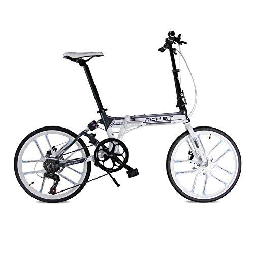 KINGTTU® Klappräder BMX-Räder Rennräder Komfort-Fahrrad Schwarz Rot 20 Zoll 7 Geschwindigkeiten Magnesium integriert Rad mechanische Bremsen 2016 aktualisiert neue TP-020-451 Weiß