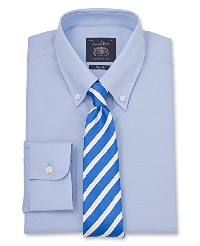 Savile Row Men's Blue Pinpoint Oxford Slim Fit Shirt - Single Cuff blue