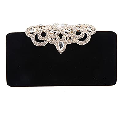 Bonjanvye Velvet Shining Crown Evening Clutch Bag and Purse for Women