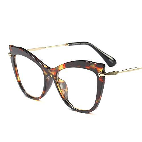 Shengjuanfeng-brillen Jahrgang Klassische Nicht verschreibungspflichtige klare Brillenglas, Retro Brillengestell. Accessoires (Farbe : Lepoard)
