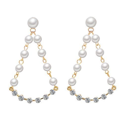 zhagnyy S925 Silber Nadel, Hypoallergene Lange Perle Ohrringe Persönlichkeit Mikro-Set Diamant Tropfen Geometrie Ohrringe 5,4 * 3,6 cm