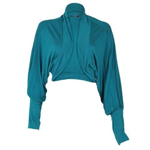 Shrug pipistrello da donna a maniche lunghe, da donna, in Jersey, Cardigan Top Bolero 36-42 Teal