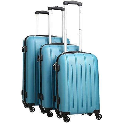 Pure - Hartschalen-Koffer Colorful   3-teiliges Trolley-Set   Reisekoffer mit 4 Rollen und Zahlenschloss in den Größen S, M & L   Türkis