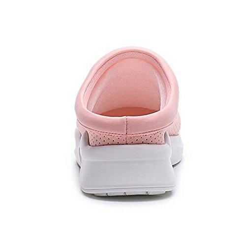 Mode féminine Summer Lycra Ventilation Confortable pantoufles pink