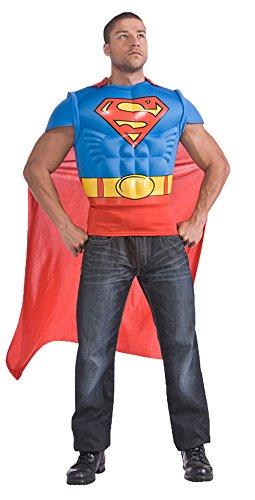 ,Karneval Klamotten' Kostüm Superman Shirt mit Cape Kostüm Mann Comics Herrenkostüm Grösse 56/58