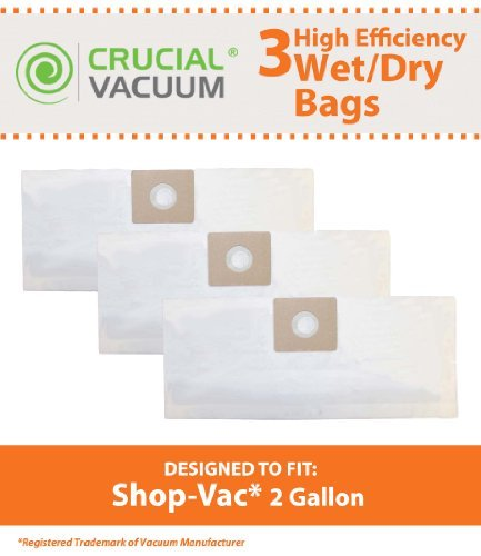 3hohe Qualität Typ B Staubsaugerbeutel für VAC 2& 2,5Gallonen Nass/Trockensauger; Vergleichen um VAC Teil keine. sv-9066800; Entworfen und Hergestellt von Think Crucial