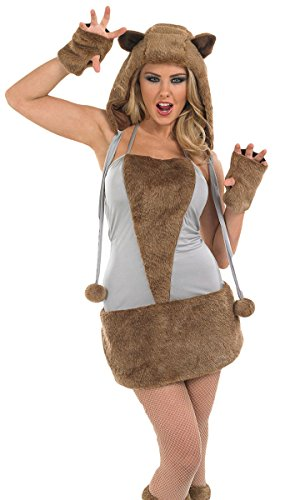 Damen Sexy Braunbär Fox Wolf Tier Halloween Kostüm Kleid Outfit UK 8-30 Übergröße - Braun, UK ()