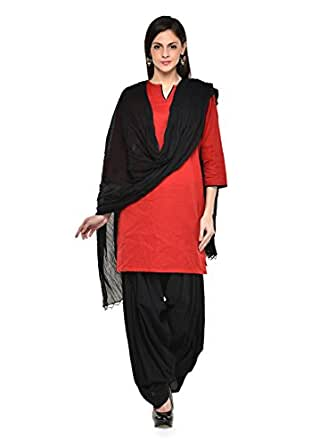 Stylenmart Women Cotton Solid Full Patiala Salwar Dupatta Set (Stmapa078606 _Black _Free Size)