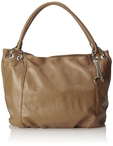 CTM Borsa elegante a sacca da donna in vera pelle morbida italiana made in Italy 35x29x15 Cm Fango
