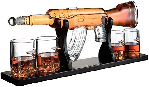 Gun Large Decanter Set Bullet Glasses, elegante Rifle Whisky Decanter 1000Ml con 4 Bullet Whisky Glasses y base de madera de caoba, excelentes regalos para cualquier persona