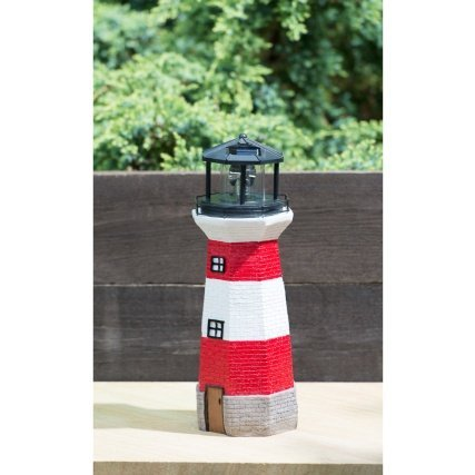 Lighthouse with Spinning Solar Light-Red