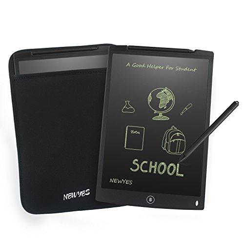 NEWYES NYWT120 - Tableta de Dibujo con Pantalla LCD de 12 Pulgadas, Incluye 1 lápiz Inteligente, 2 imanes para Nevera, 30 días de Servicio de devolución de Dinero (Negra + Funda)