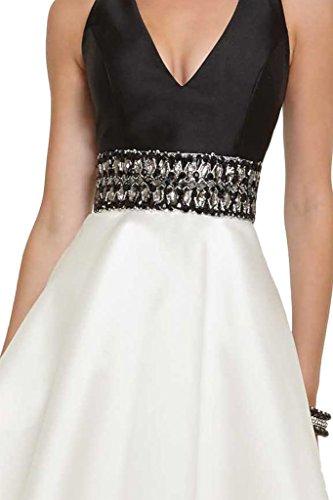 Victory bridal magnifique pierres neckhoder v découpe abendkleider ballkleider brautjungfernkleider short mini xS blanc/noir