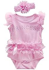 Idea Regalo - MOMBEBE COSLAND Body Neonata Bambino Bambina Pizzo Tutu Vestito con Fascia (Rosa, 0-3 Mesi)