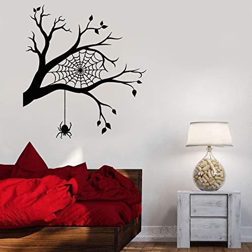guijiumai Moderne Raumdekoration Wandaufkleber AST Spinnennetz Spinnen Halloween Aufkleber Wohndekoration Schlafzimmer Lustige Abziehbilder weiß 56 x 63 cm