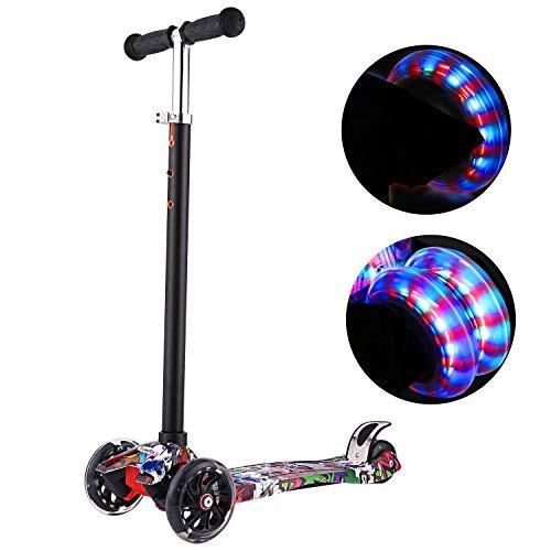 Profun Monopattino con 3 PU Route Luce LED Scooter per Bambini Manubrio Regolabile Altezza 54CM-69CM per Bambini 3-8 Anni (Graffiti 1)