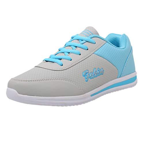 Yvelands Damen Sneakers Mode der Frauen Flache Mischfarben, die Sport-Schuh-Turnschuhe Laufen Lassen(Blau,40)