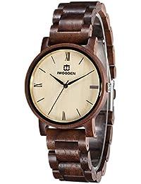 IWOODEN Walnut Watch Mens Watch Analog Quartz Handmade Vintage Wood Wrist Watch Gifts For Men