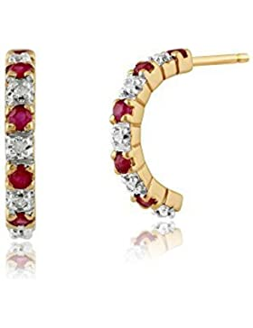 Gemondo Rubin Ohrringe, 9ct Gelbgold 0,28 Karat Rubin & 4pt Diamant Halber Reifen Stil Ohrringe