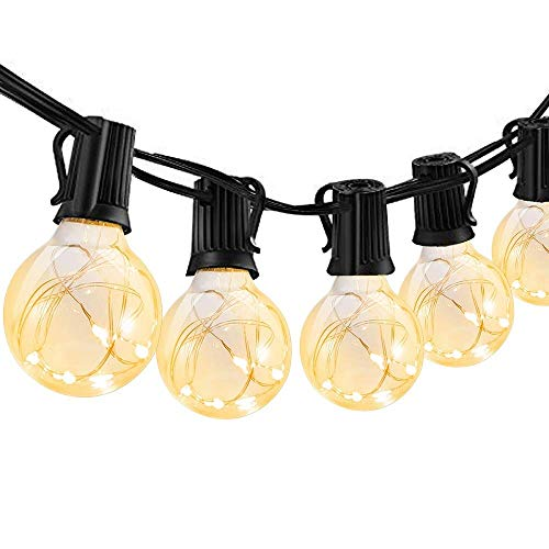 ECOWHO G40 Led Lichterketten Warmweiß mit Fernbedienung Dimmbar, 7,5 Meter, IP44, 8 Beleuchtungsmodi für Zimmer, Party, Geburtstag, Weihnachten, Garten und Balkon ()