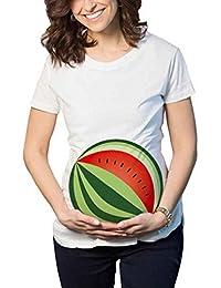 Mengonee Las Mujeres Redondas de Impresión de Dibujos Animados de Maternidad Embarazadas Camisetas de Algodón Lindo Embarazo de Maternidad Ropa de Verano Camiseta