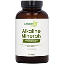 SimplexHealth Alkaline Minerals Powder. Make an alkaline drink with core alkalising minerals including Potassium Citrate, Calcium Citrate, Magnesium Citrate to pH Balance the body (250g)