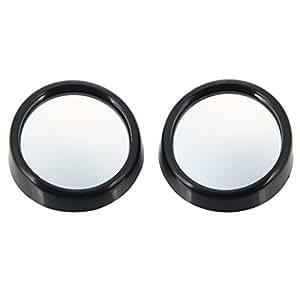 Espejos - 3R- 012 de 50 mm de vidrio y plástico coche Blind Spot Mirror Borde Negro (Pareja)