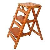 XHCfold Faltbarer Tritthocker 3 Tritt, Holz-Steigleiter A-typ Stepper für Haushalt und Küche...