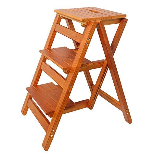 Stool Faltbarer Tritthocker 3 Tritt, Holz-Steigleiter A-typ Stepper für Haushalt und Küche (Color : Yellow Walnut)