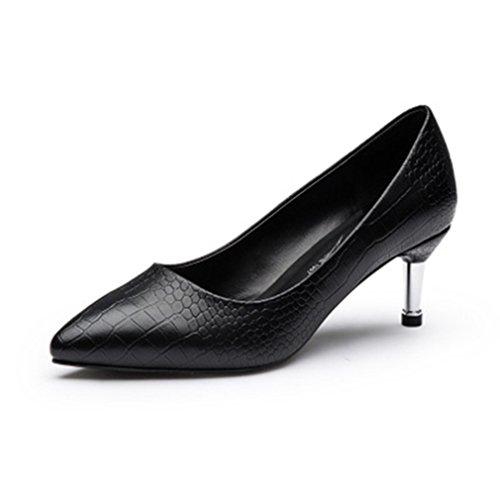 Damen Pumps Slip On Spitz Zehen Karo Glattleder Arbeitsschuhe Stilettos OL  Büro Bequeme Lässig Schuhe Schwarz