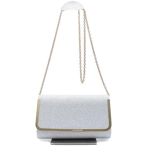 Vain Secrets Damen Umhänge Tasche Clutch Strass Abendtaschen Silber