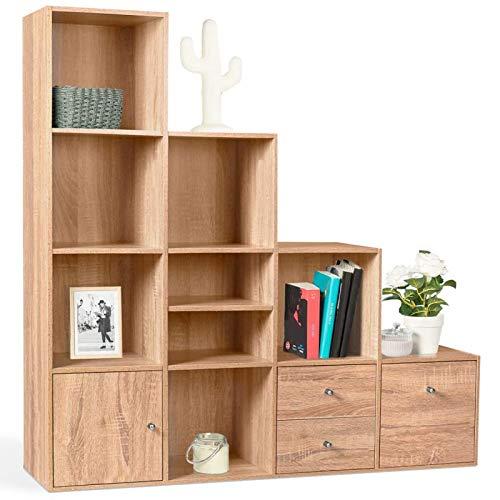 IDMarket - Meuble de Rangement escalier 4 Niveaux Bois façon hêtre avec Porte et tiroirs