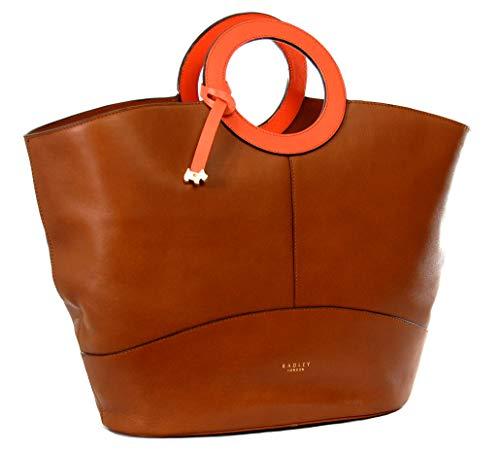 Radley Handtasche aus Leder, groß, mit orangefarbenen Lederschlaufen