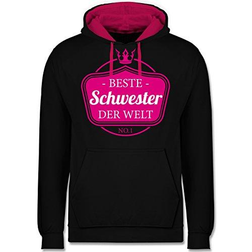 Schwester & Tante - Beste Schwester der Welt - Kontrast Hoodie Schwarz/Fuchsia