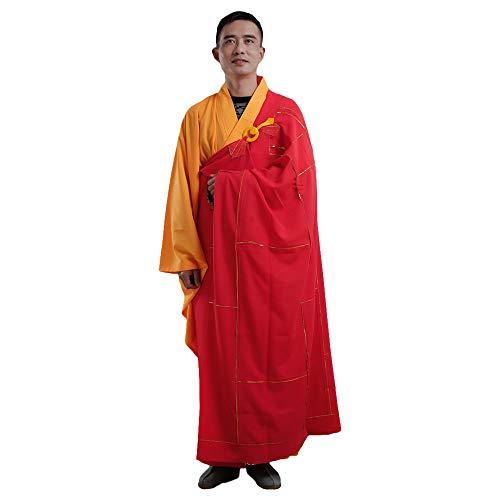 ZooBoo Buddistische Mönchsrobe Kesa Soutane - Chinesische Traditionelle Religionen Buddhistische Kostüme Chan Yi Kampfkunst Shaolin Kung Fu Langärmelige Robe Uniformen für Männer Frauen (Rot, 165 ()