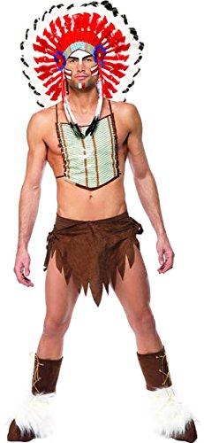 Village People Indianer Kostüm Braun Kopfschmuck Lendenschurz Brustplatte und Überstiefel, One Size (Kostüm Brustplatte)