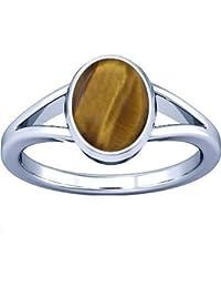 Divya Shakti 9.25-9.50 Carats Tiger's Eye Silver Ring ( Chitti Stone Ring ) 100 % ORIGINAL NATURAL GEMSTONE AAA QUALITY