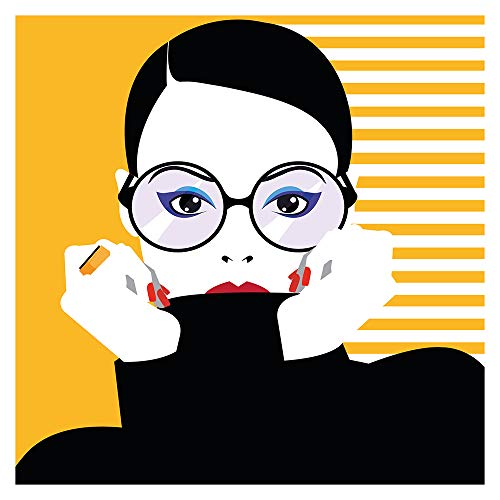 dekodino® Wandtattoo Fashion Frau mit Brille und Streifen schwarz gelb Deko